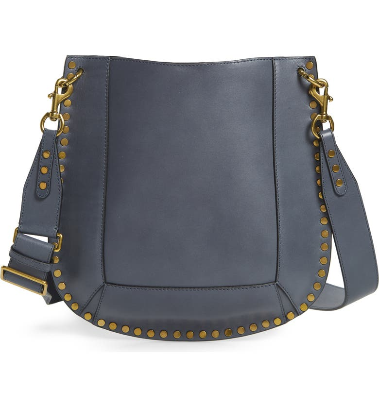 ISABEL MARANT Oskan Leather Hobo Bag, Main, color, GREYISH BLUE