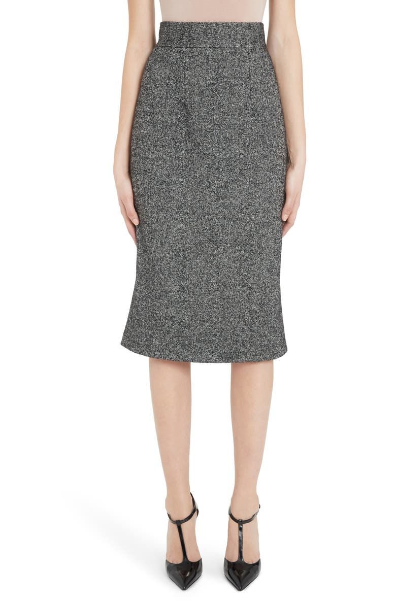 DOLCE&GABBANA Fluted Tweed Skirt, Main, color, BLACK/ WHITE