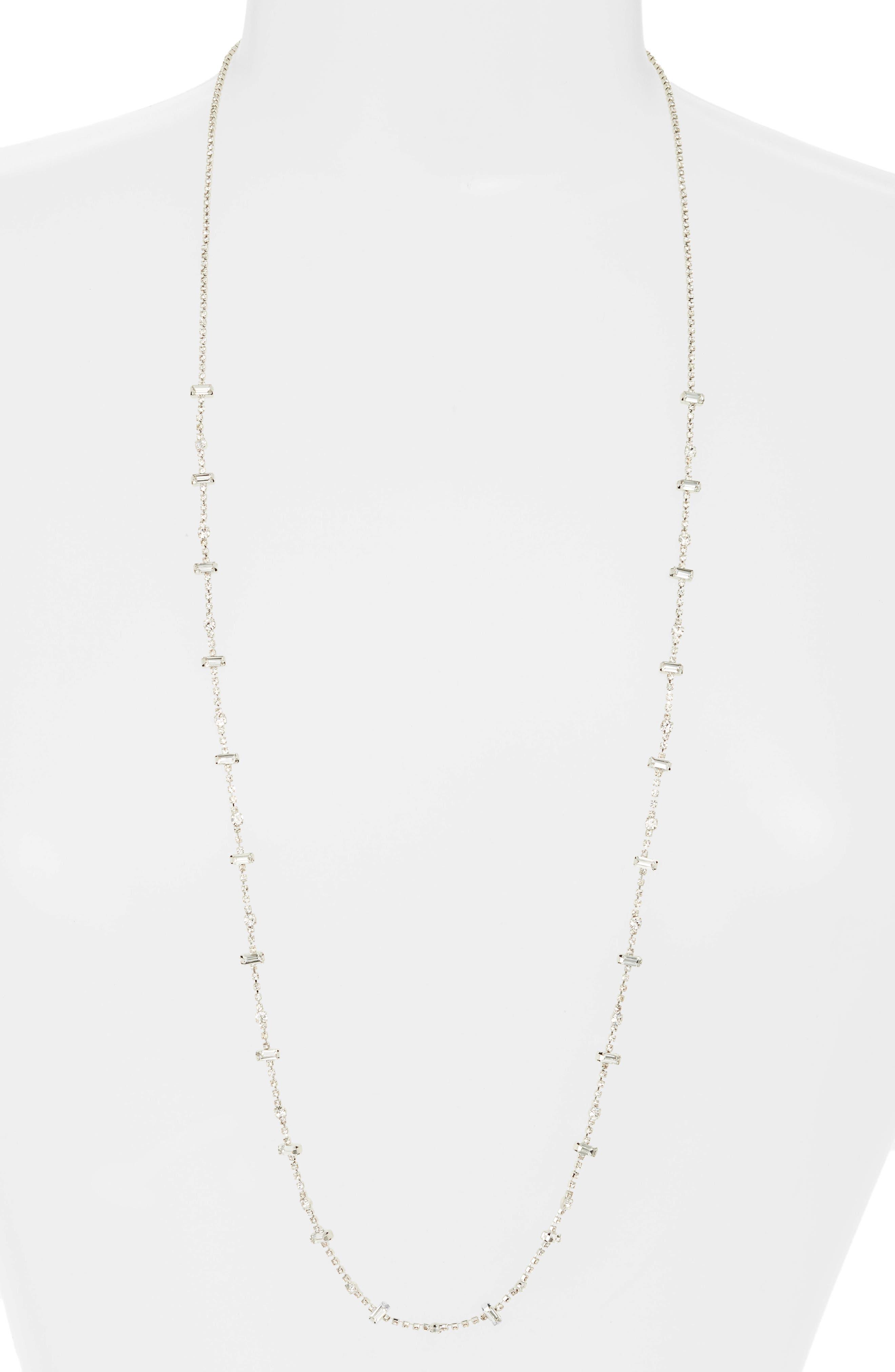 Crystal Baguette Long Necklace