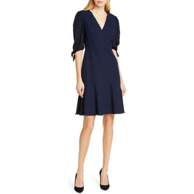 Tailored By Rebecca Taylor Tie Sleeve Mix Media Dress, Blue