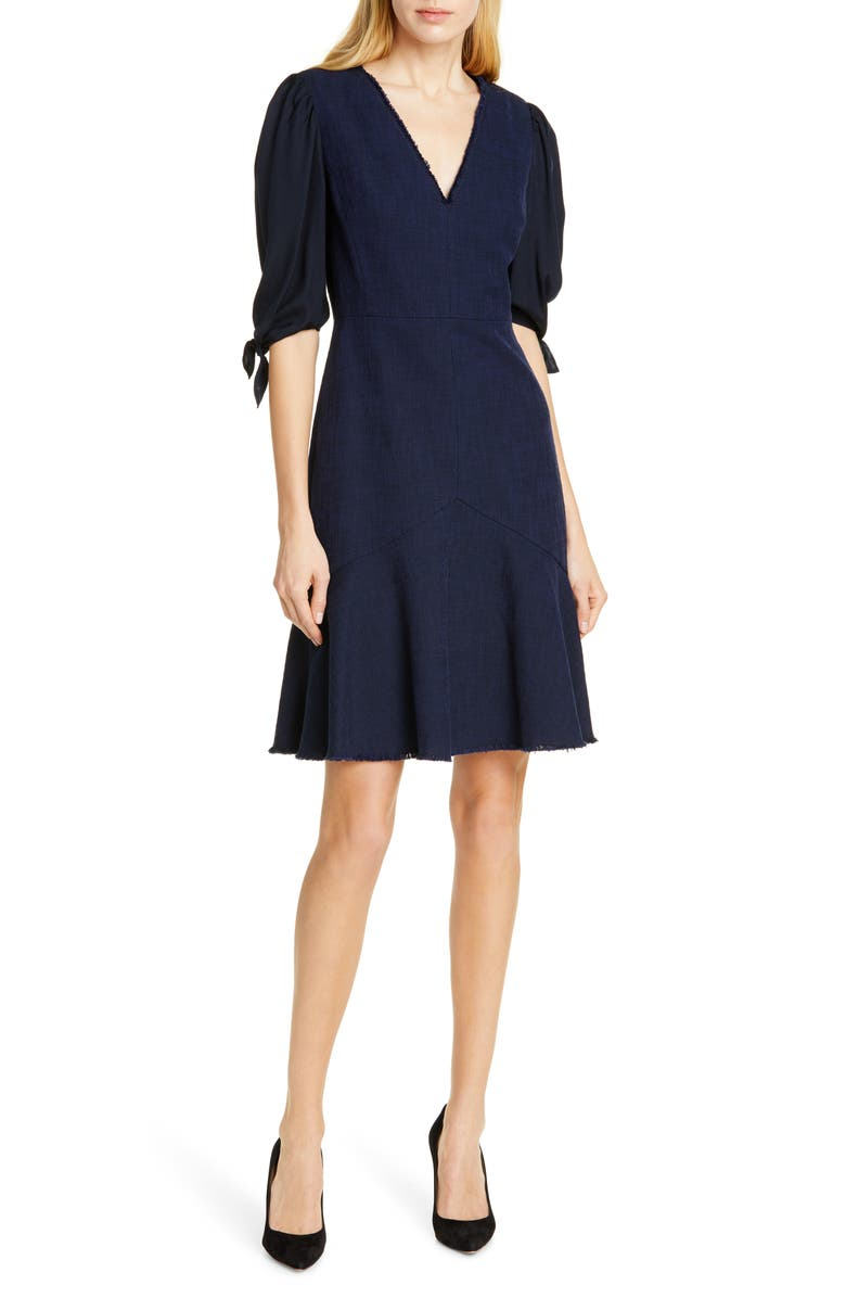 TAILORED BY REBECCA TAYLOR Tie Sleeve Mix Media Dress, Main, color, DARK NAVY