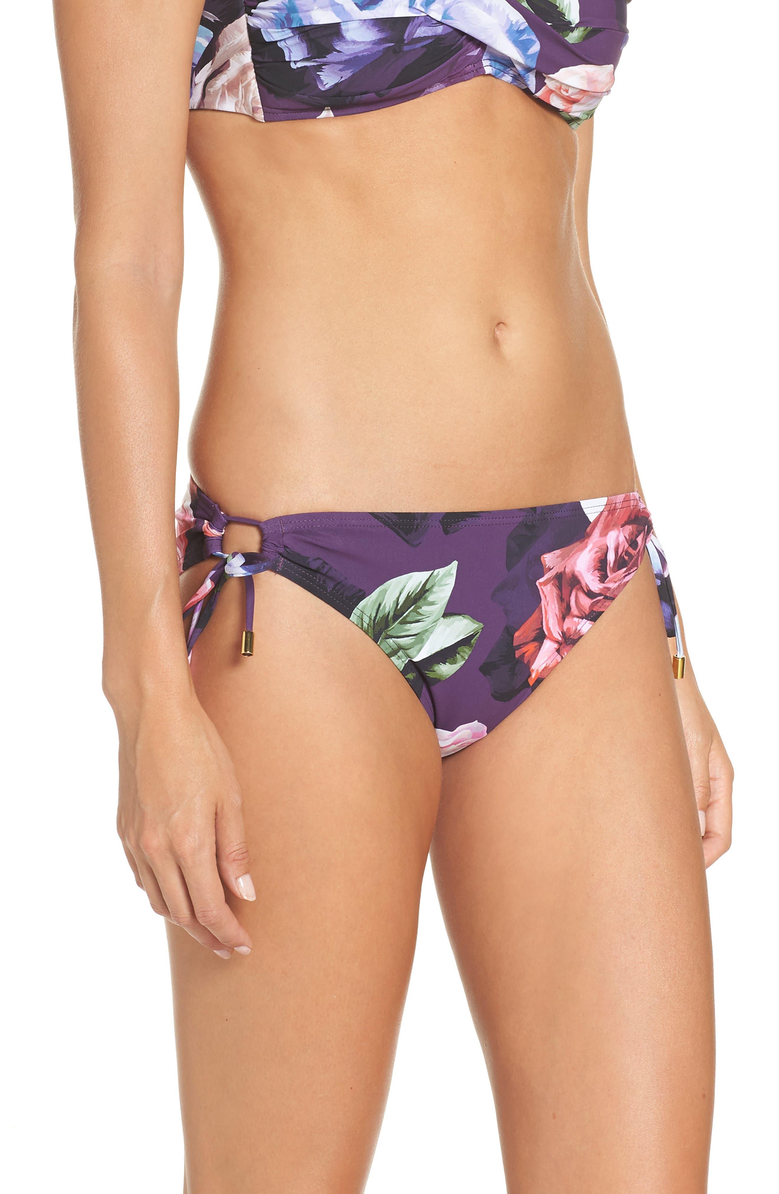,                             Side Tie Hipster Bikini Bottoms,                             Alternate thumbnail 3, color,                             PLUM