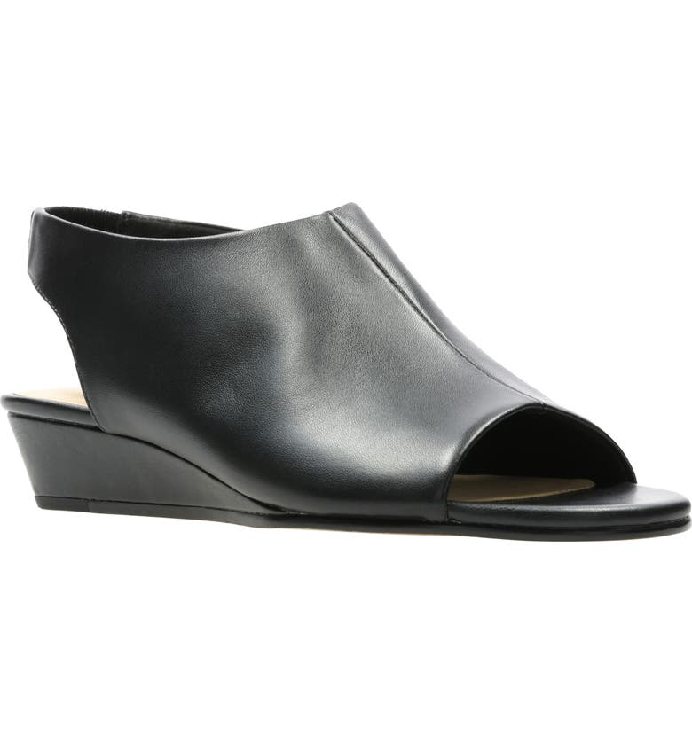 CLARKS<SUP>®</SUP> Sense Leather Wedge Sandal, Main, color, BLACK LEATHER
