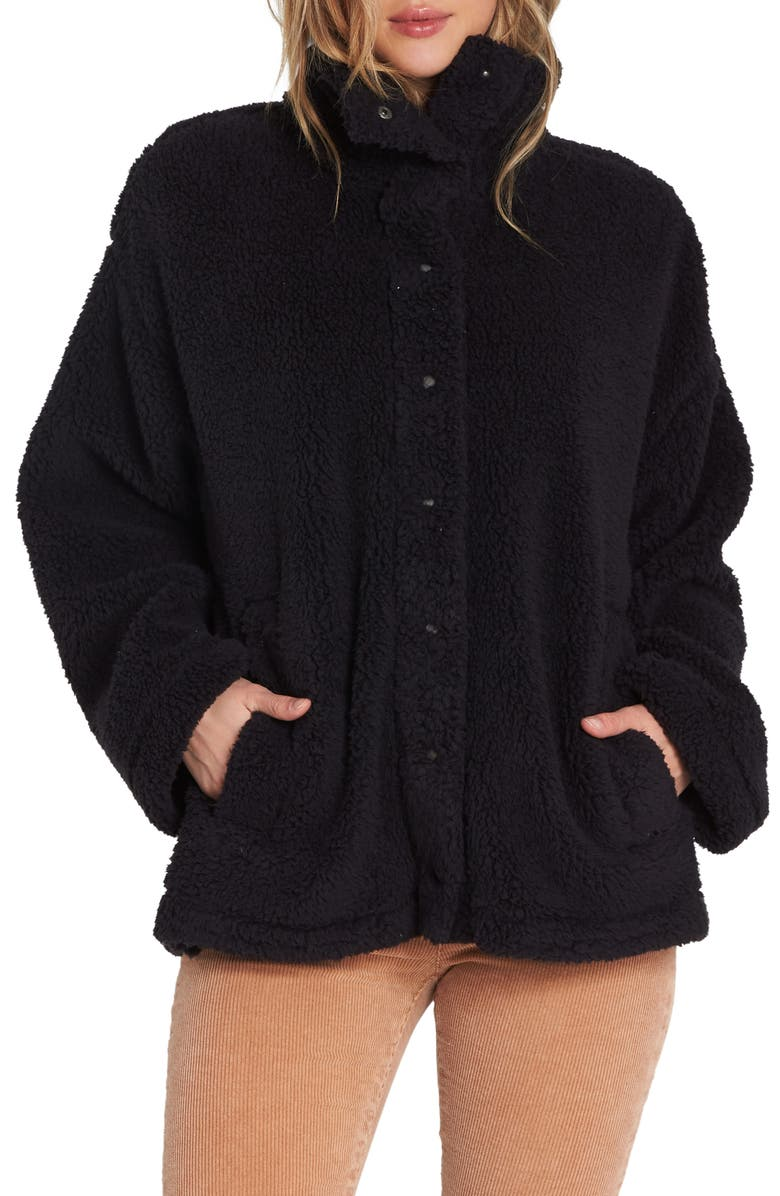 BILLABONG Cozy Days Faux Fur Jacket, Main, color, BLACK