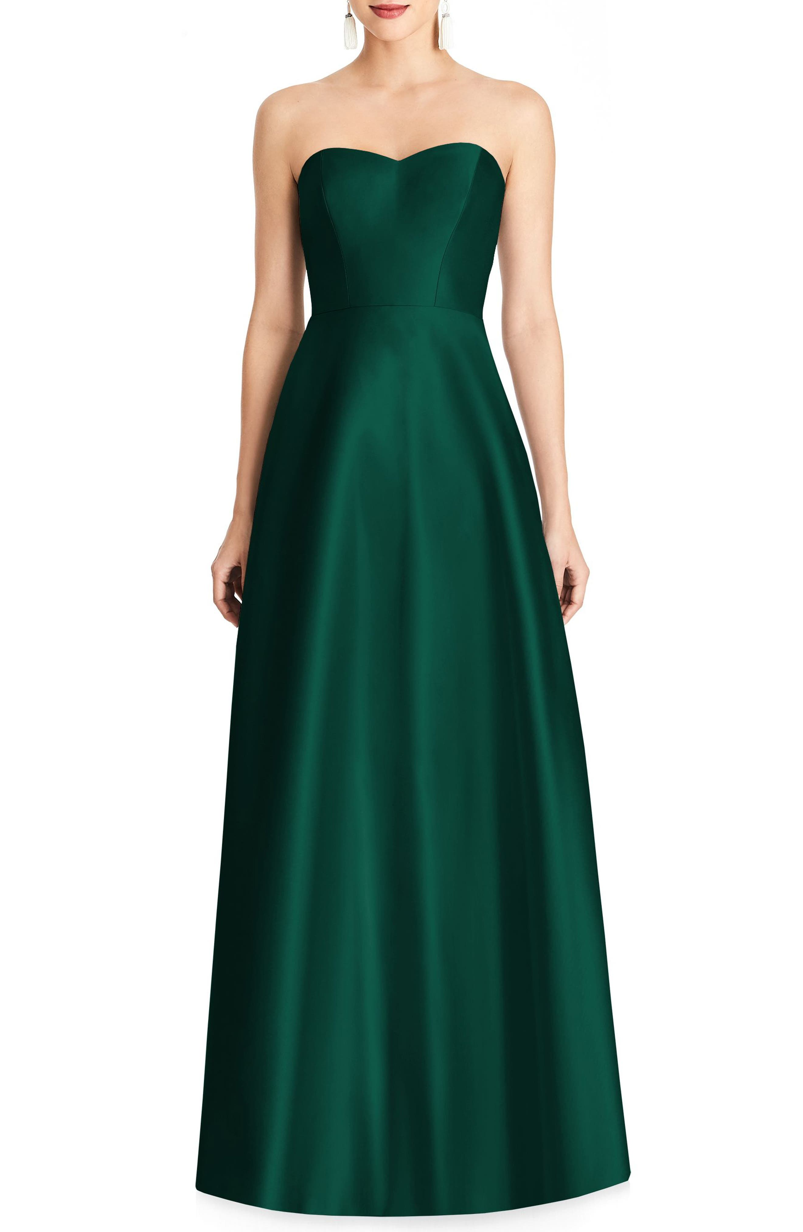 Strikingly simple and utterly flattering, a luminous satin gown puts pretty shoulders on display and creates a waist-nipped silhouette. Style Name: Alfred Sung Strapless Satin A-Line Gown. Style Number: 5507712 1. Available in stores.