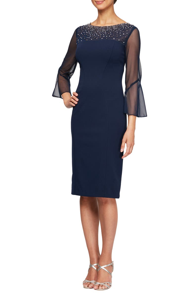 ALEX EVENINGS Embellished Illusion Neck Sheath Dress, Main, color, NAVY/ SILVER