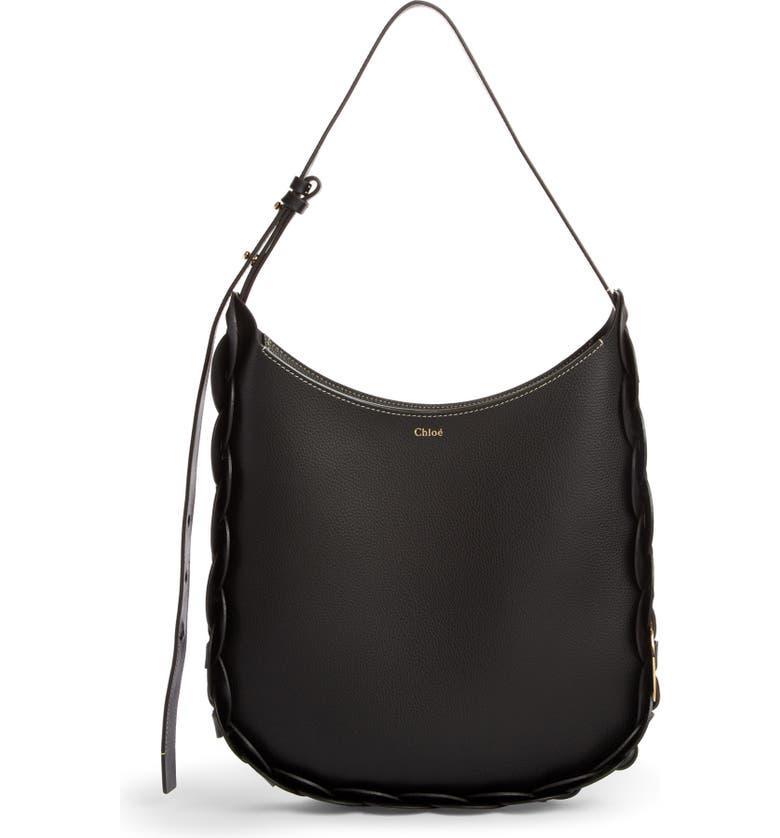 CHLOÉ Medium Darryl Leather Hobo, Main, color, BLACK