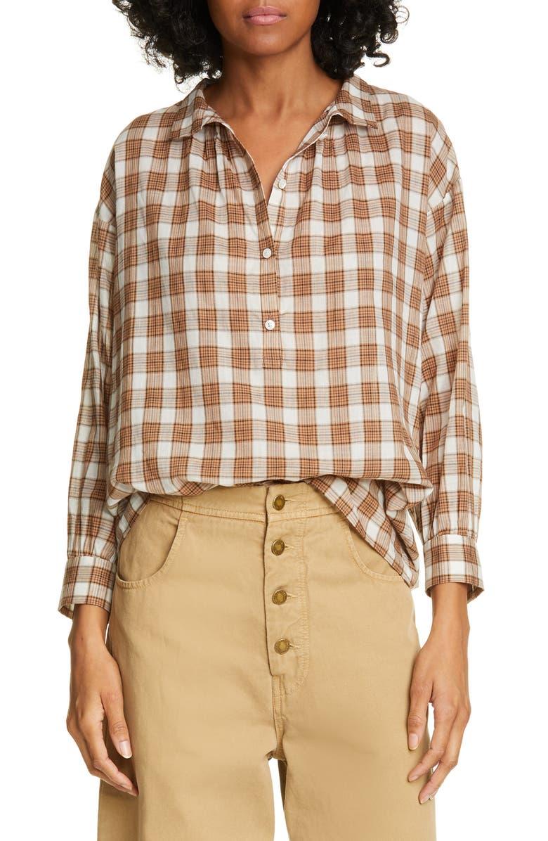 NILI LOTAN Myra Plaid Cotton Top, Main, color, GINGER PLAID