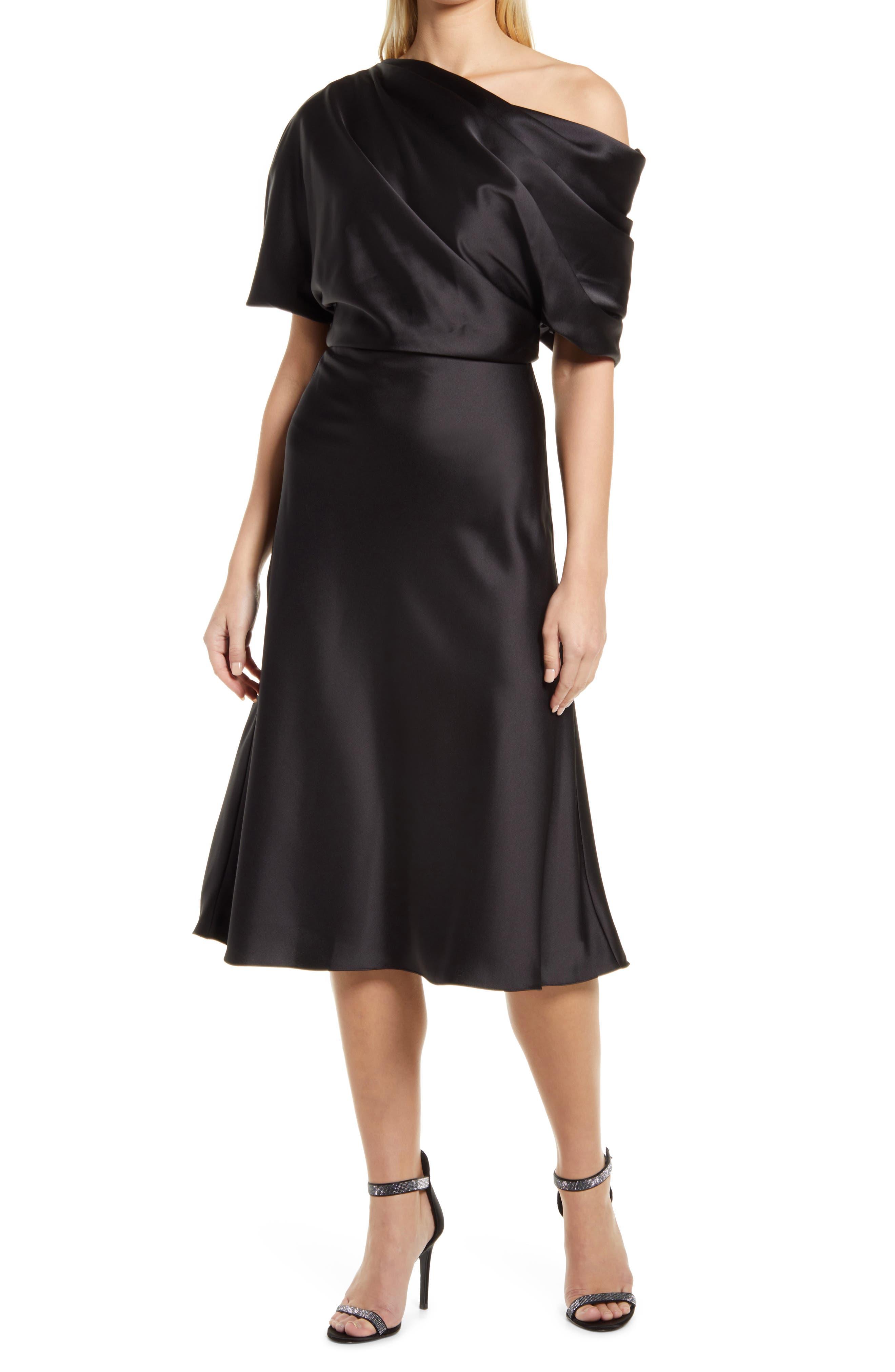 Amsale Drape One-Shoulder Midi Cocktail Dress