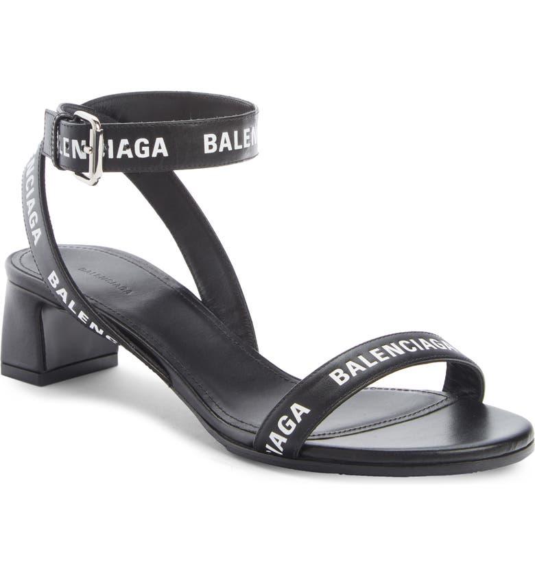 BALENCIAGA Logo Ankle Strap Sandal, Main, color, BLACK/ WHITE