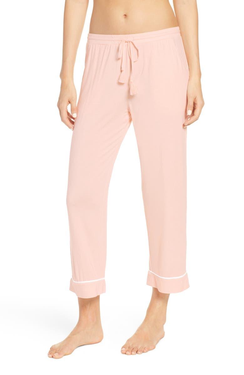 NORDSTROM LINGERIE Moonlight Crop Pajama Pants, Main, color, PINK WOOD