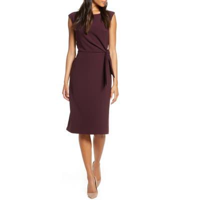 Tahari Cap Sleeve Crepe Sheath Dress, 8 (similar to 1) - Burgundy