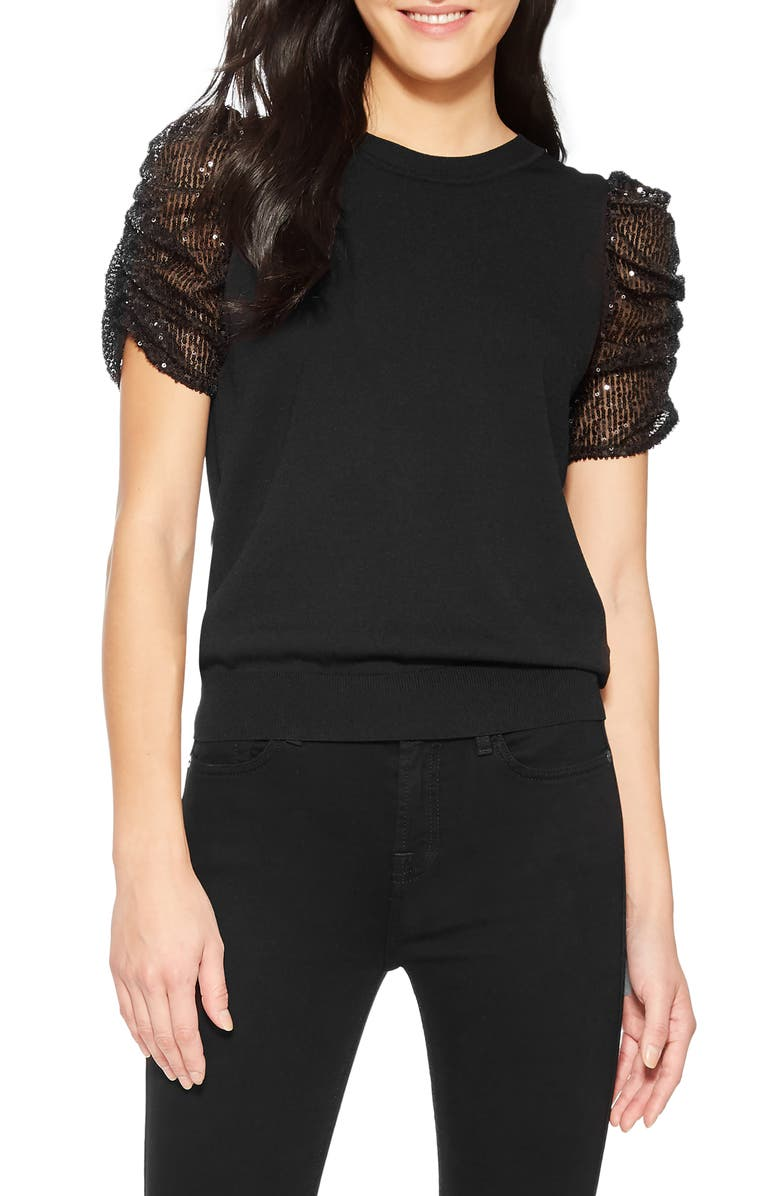 PARKER Tash Knit Puff Sleeve Top, Main, color, BLACK