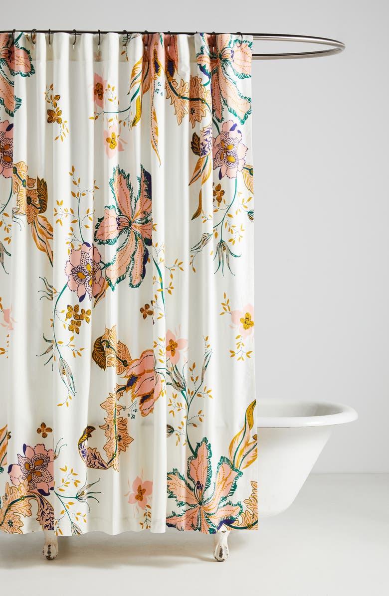 ANTHROPOLOGIE Porte Bonheur Shower Curtain, Main, color, PINK