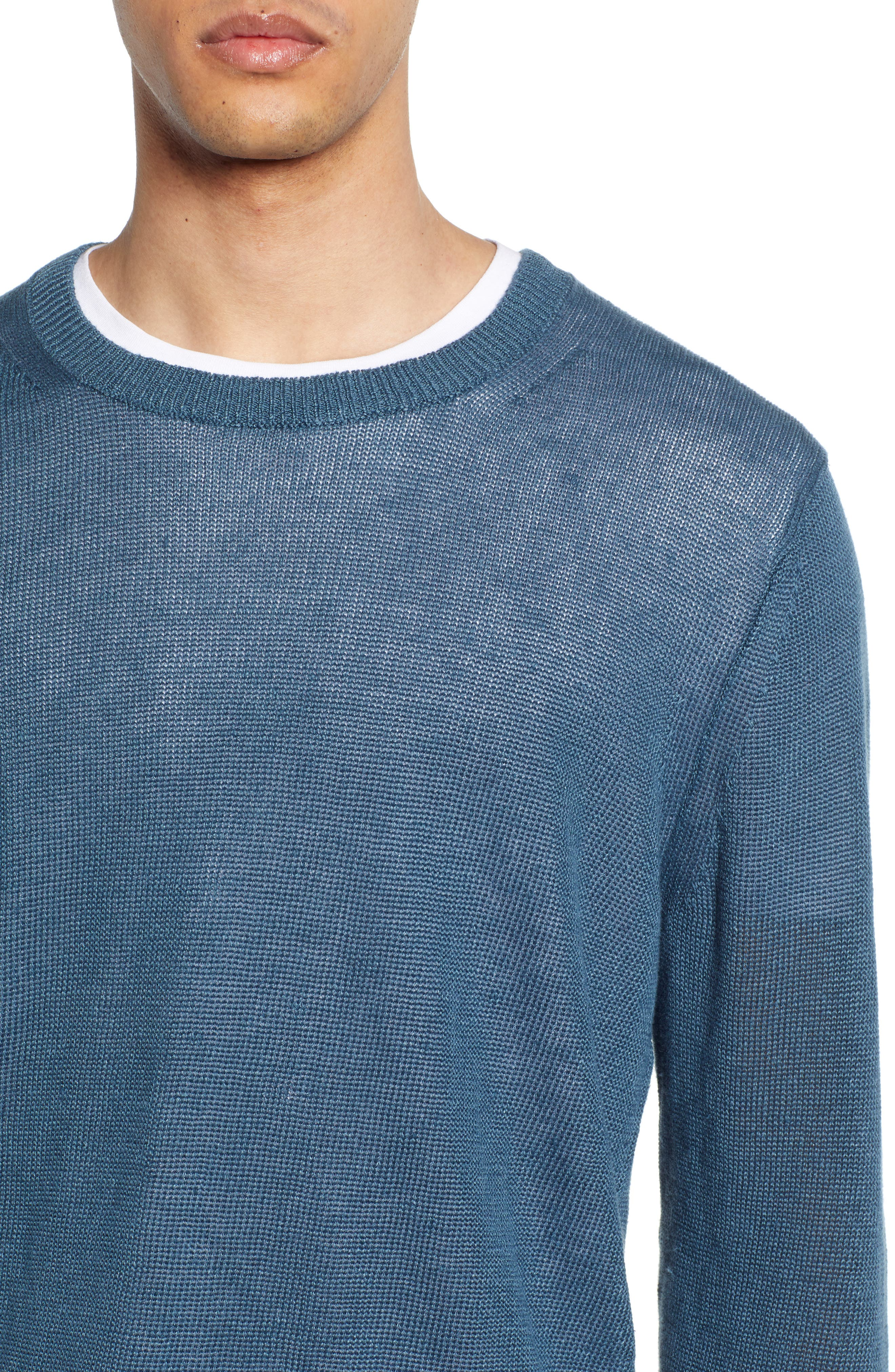 ,                             Crewneck Linen Sweater,                             Alternate thumbnail 4, color,                             MARIN