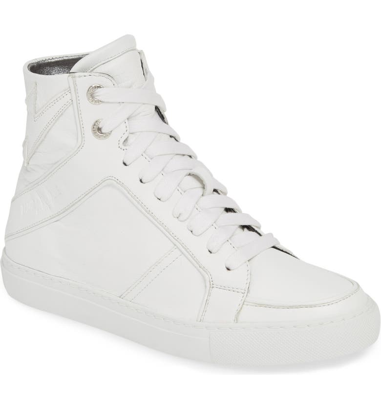 ZADIG & VOLTAIRE Flash High Top Sneaker, Main, color, BLANC