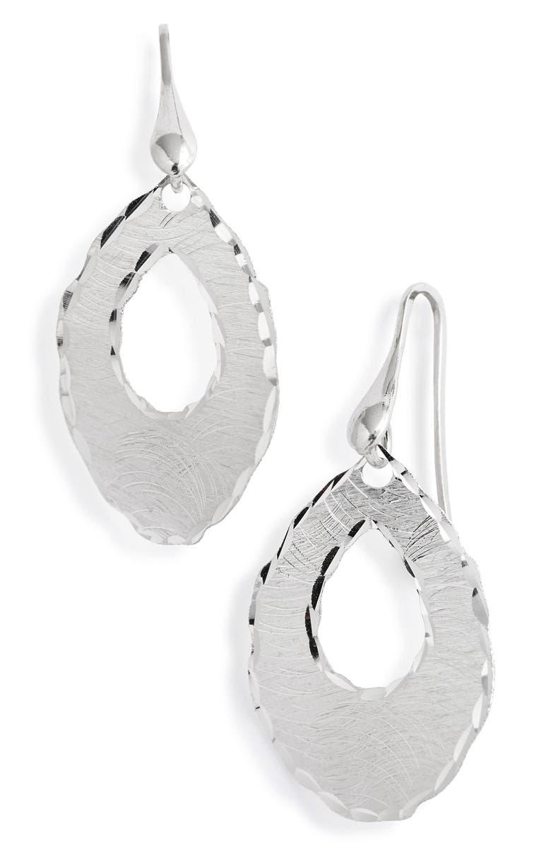 KAREN LONDON Satin Droplet Earrings, Main, color, SILVER