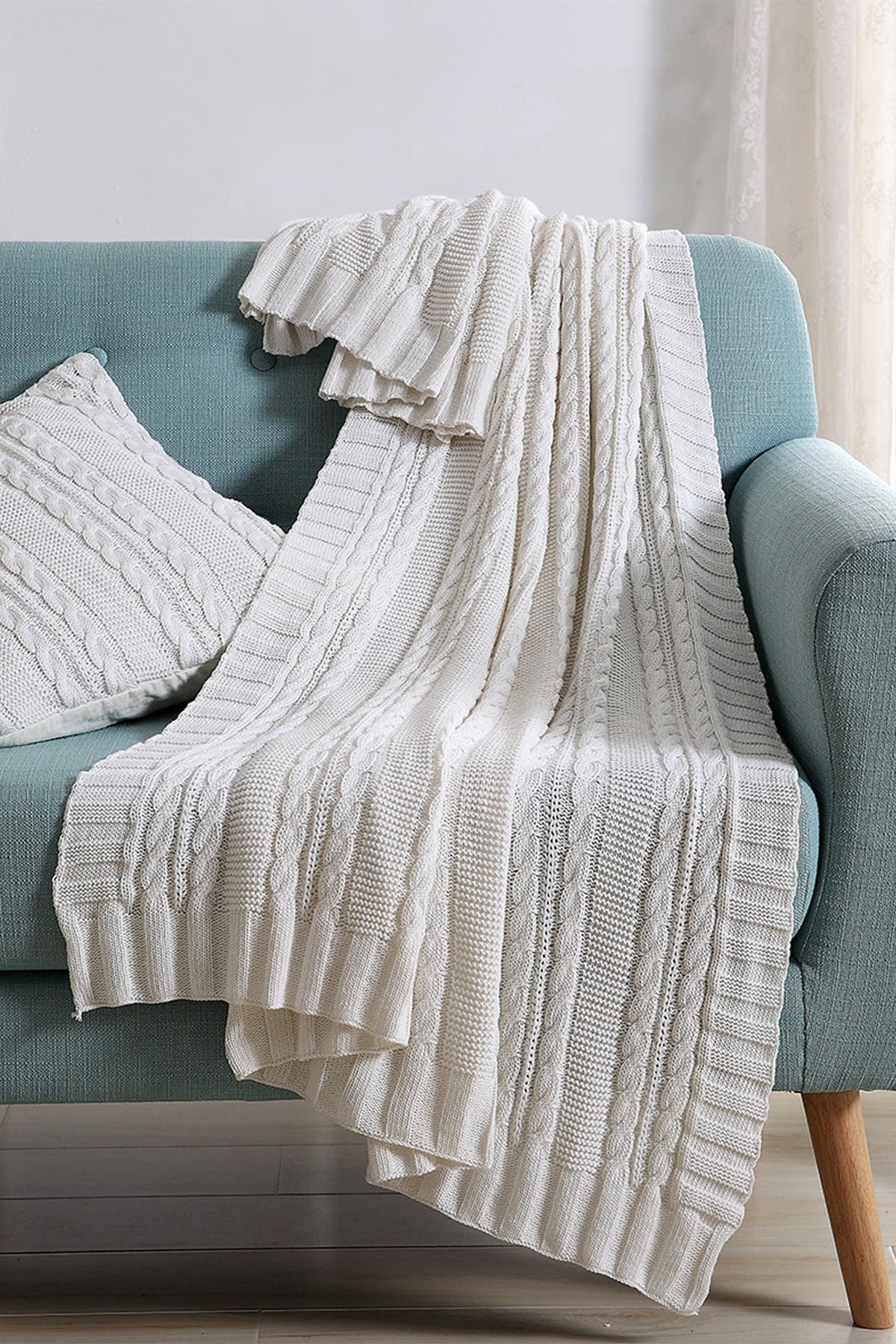 Image of VCNY HOME Dublin Cable Knit Throw Blanket - White