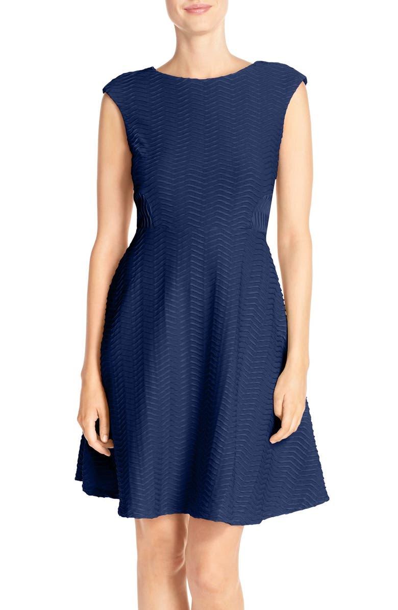 CHETTA B Textured Fit & Flare Dress, Main, color, 433