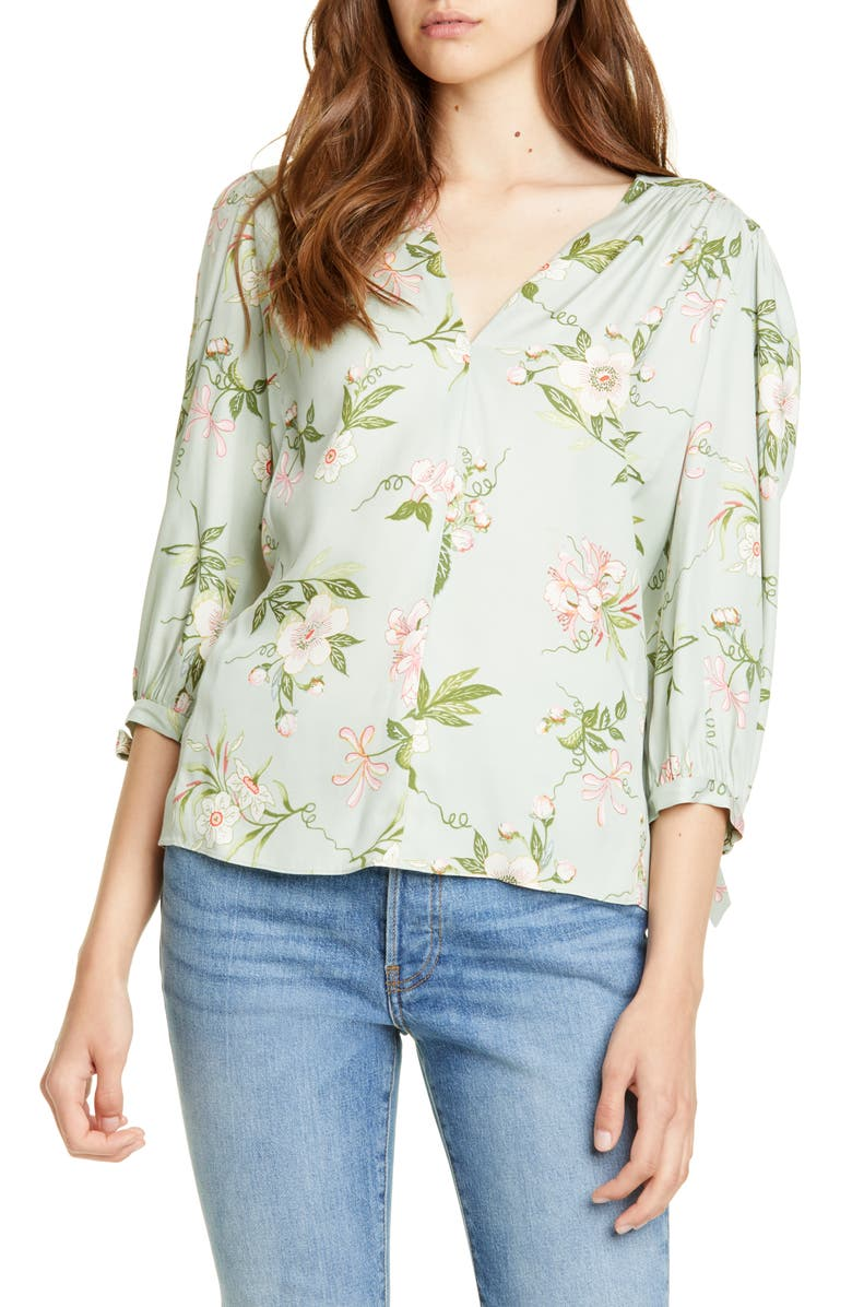 REBECCA TAYLOR Lita Floral Tie Sleeve Silk Blend Blouse, Main, color, 335