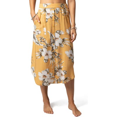 Rip Curl Island Life Floral Print Midi Skirt, Yellow