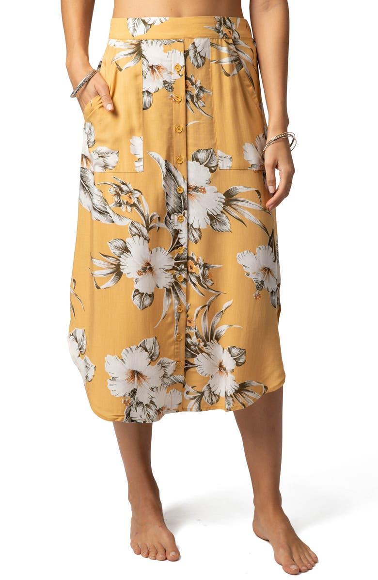 RIP CURL Island Life Floral Print Midi Skirt, Main, color, MUSTARD
