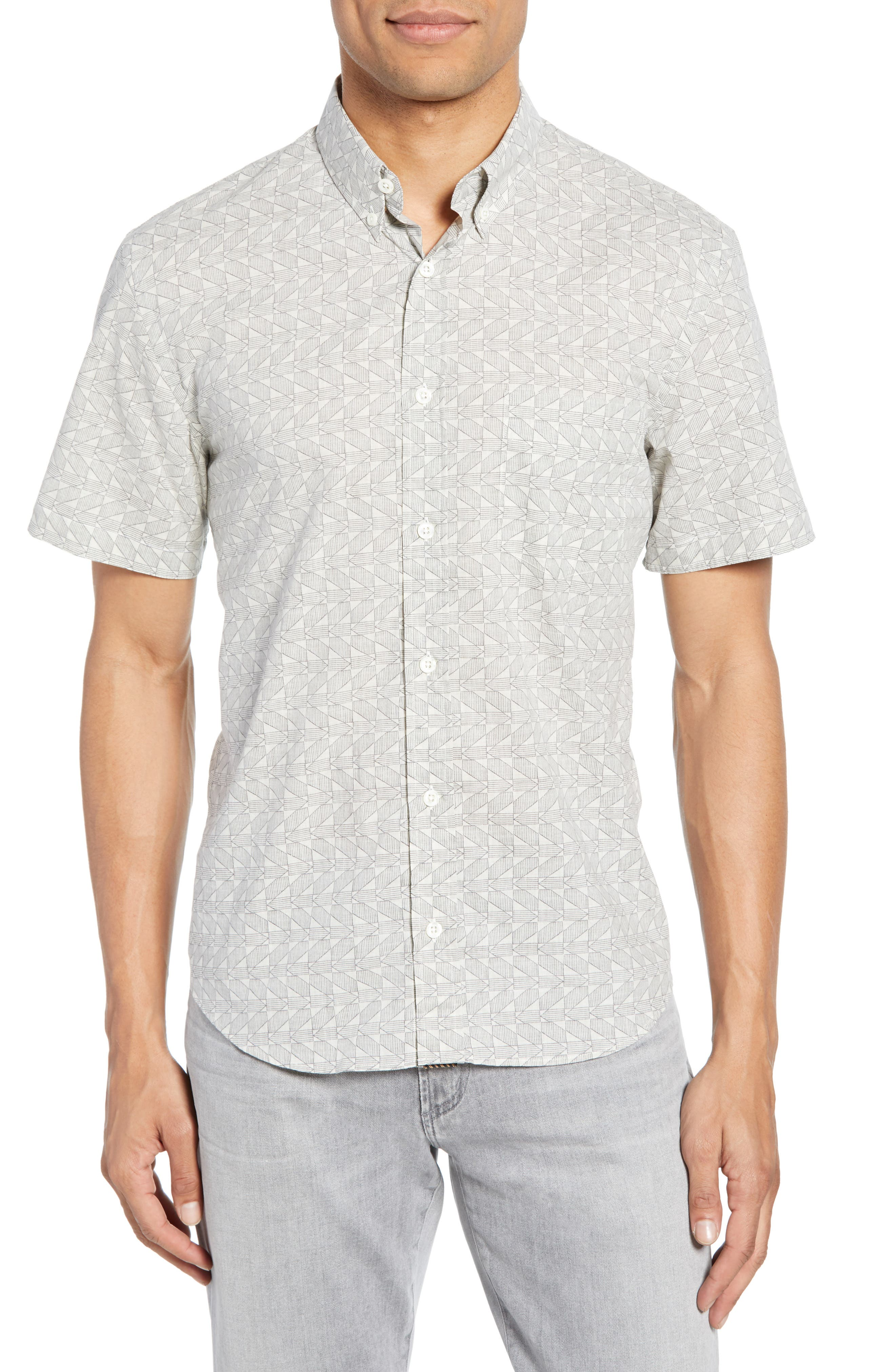 Tuscumbia Palisades Slim Fit Sport Shirt, Main, color, NAVY/ WHITE