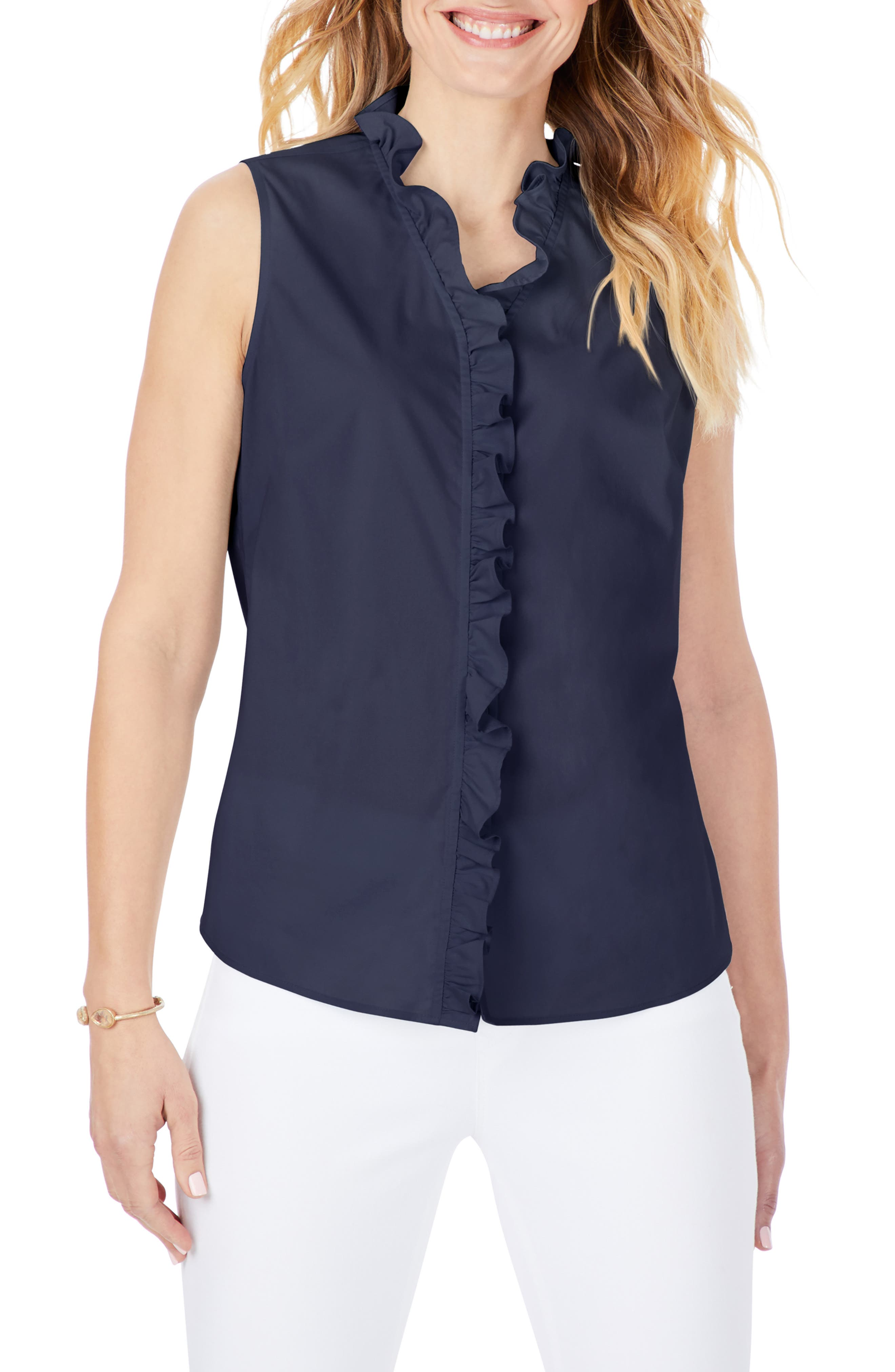 Gwen Ruffle Non-Iron Stretch Button-Up Sleeveless Shirt