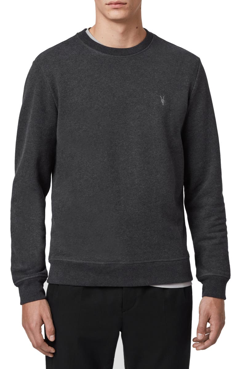 ALLSAINTS Raven Slim Fit Crewneck Sweatshirt, Main, color, CHARCOAL MARL