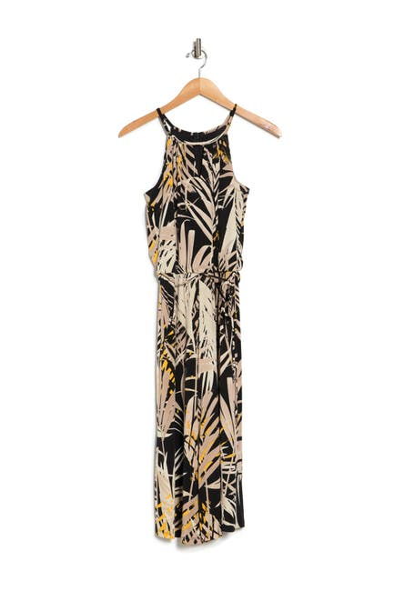 Image of London Times Jungle Printed Cropped Jumpsuit