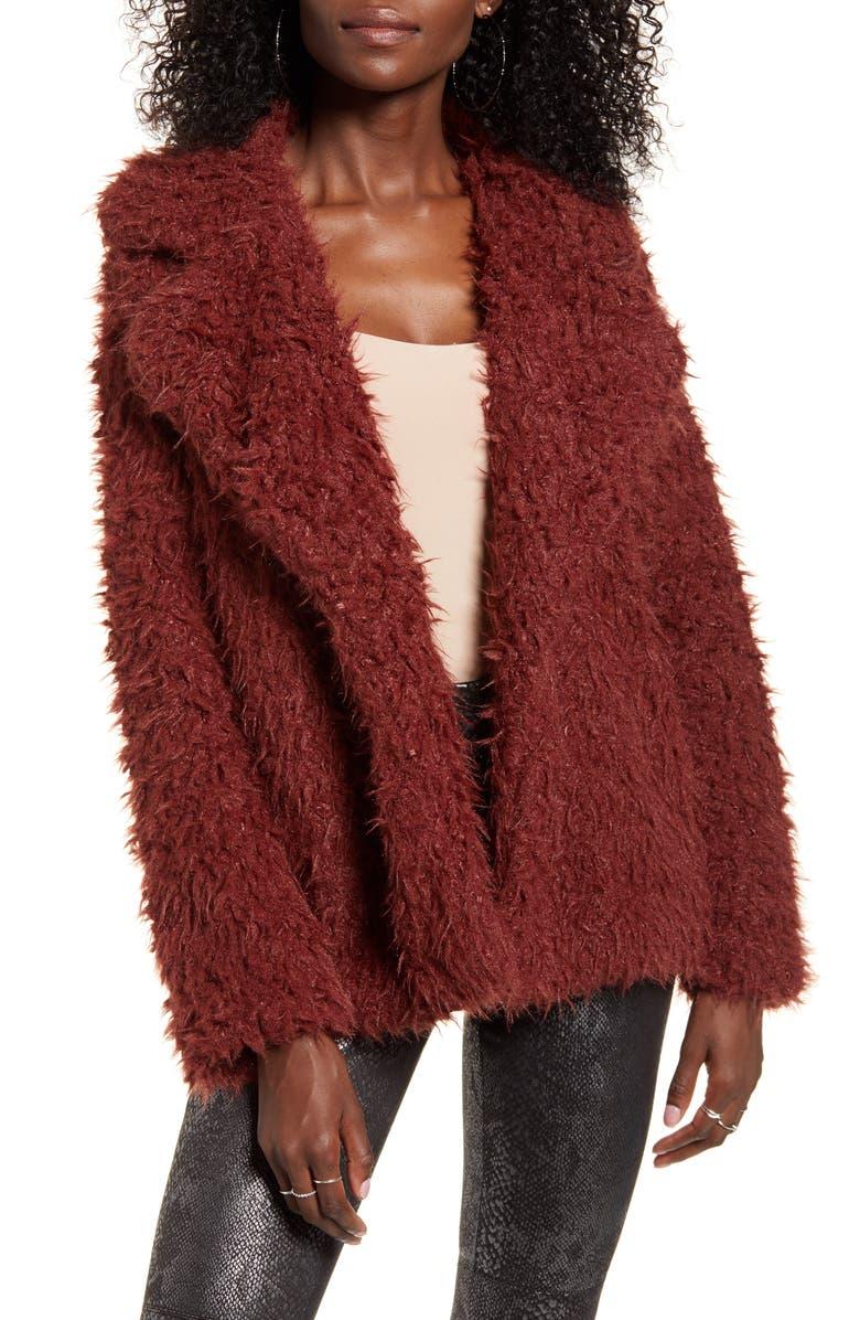 VERO MODA Faux Fur Coat, Main, color, MADDER BROWN