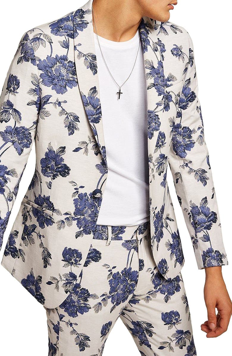 TOPMAN Skinny Fit Floral Suit Jacket, Main, color, 400