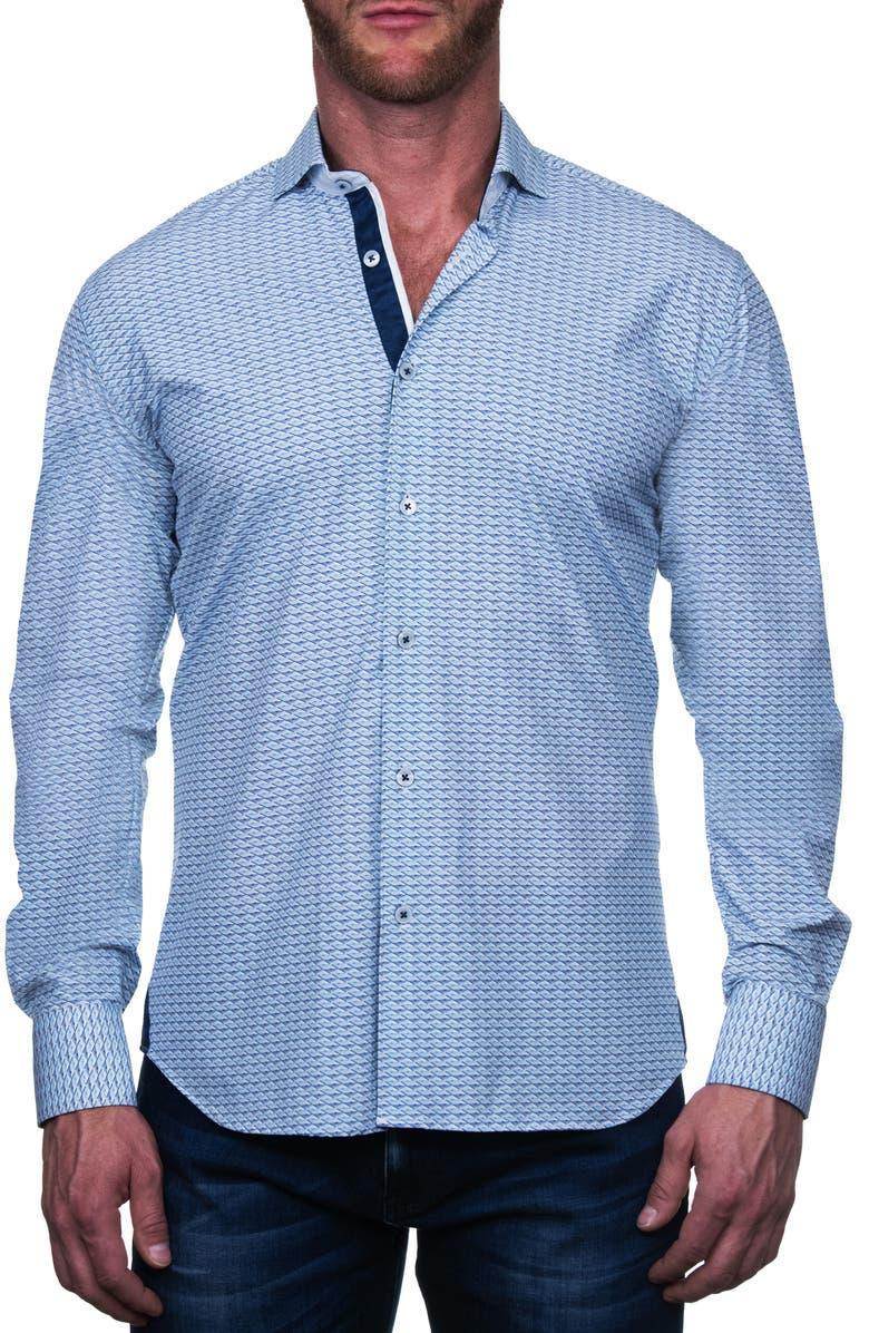MACEOO Einstein Eiffel Regular Fit Button-Up Shirt, Main, color, BLUE