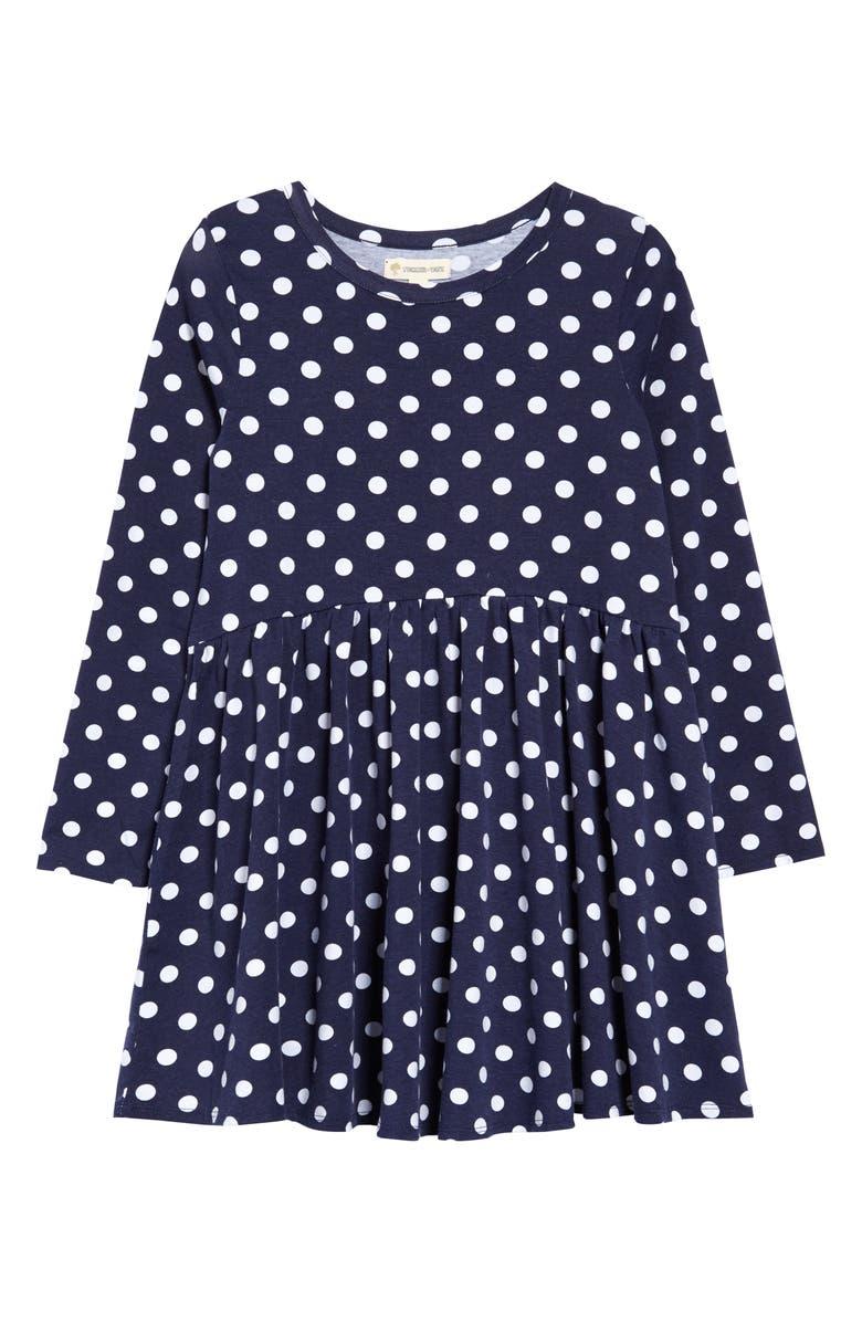 TUCKER + TATE Kids' Print Knit Dress, Main, color, NAVY PEACOAT- WHITE DOT