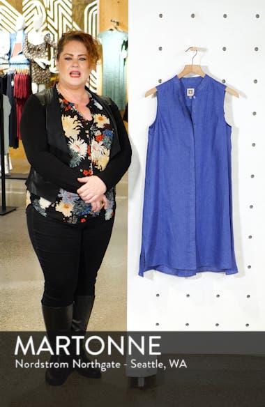 Mandarin Collar Linen Trapeze Dress, sales video thumbnail