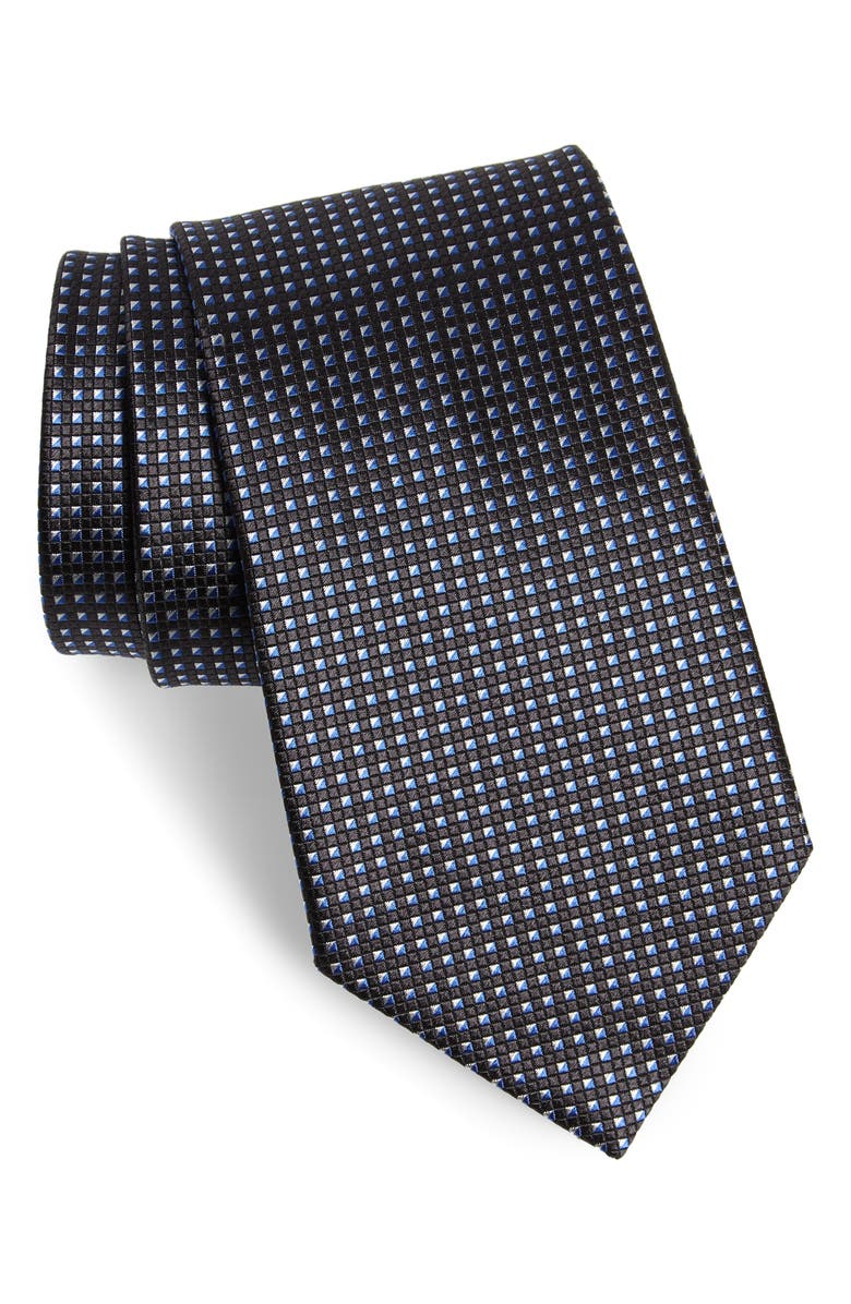 ERMENEGILDO ZEGNA Geometric Silk Tie, Main, color, NAVY