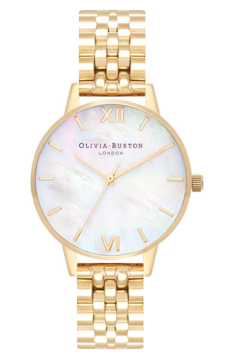 OLIVIA BURTON Mother-of-Pearl Bracelet Watch, 30mm, Main, color, GOLD/ MOP/ GOLD