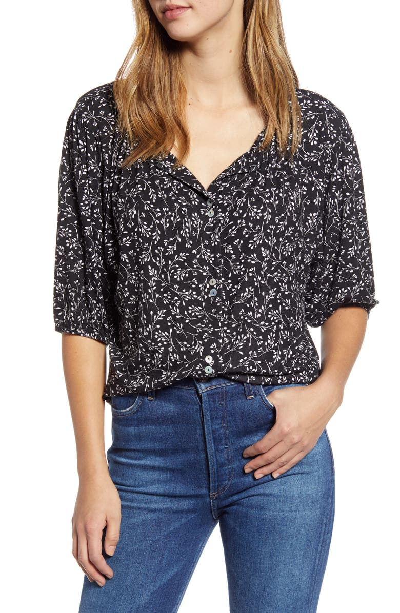LOVEAPPELLA Button Front Blouse, Main, color, BLACK/IVORY LEAVES