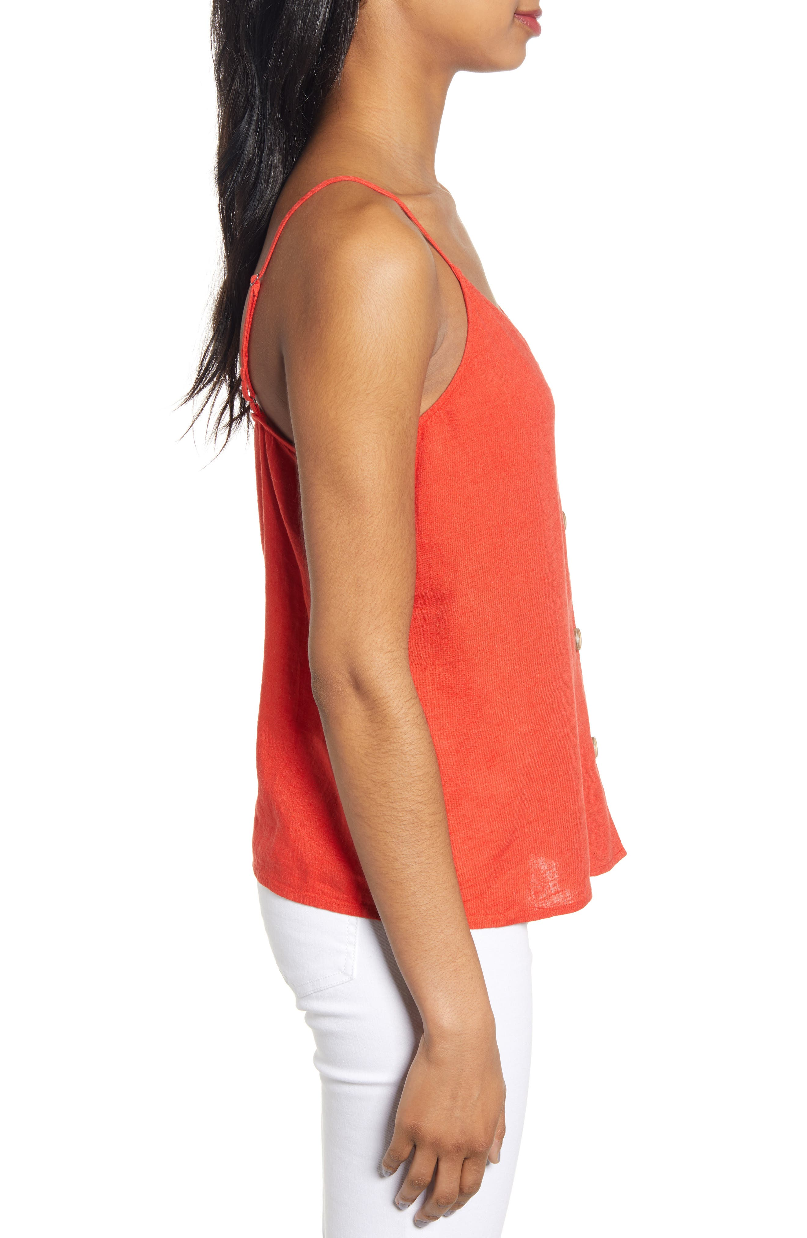 ,                             Linen Blend Camisole Top,                             Alternate thumbnail 3, color,                             RED FIERY CD