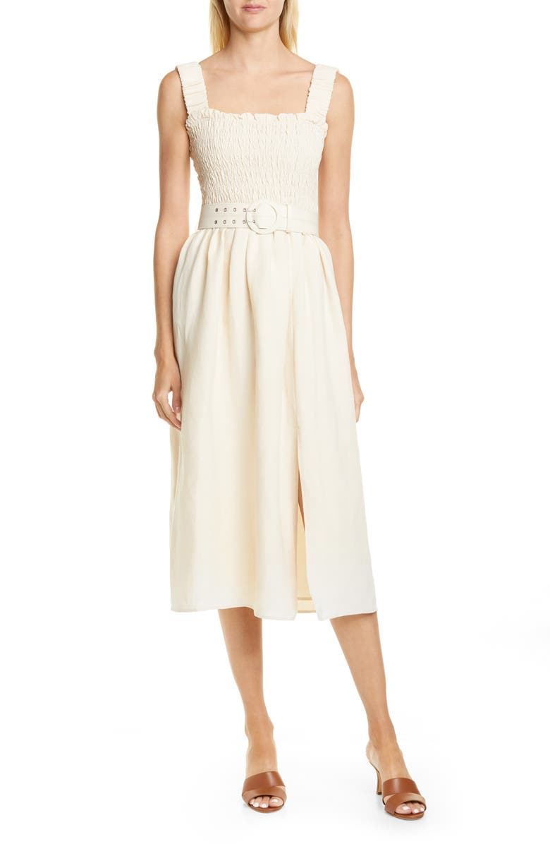 NICHOLAS Smocked Silk & Linen Apron Midi Dress, Main, color, LIGHT CHAMPAGNE