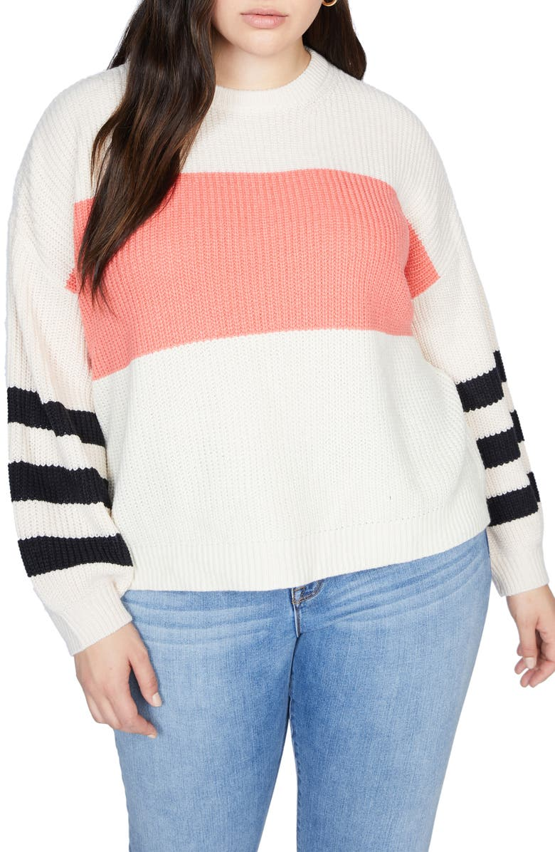 SANCTUARY Playful Stripe Shaker Stitch Sweater, Main, color, HIMLYAN SLT/BLK
