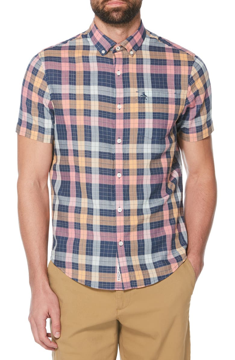 ORIGINAL PENGUIN Dad Plaid Slim Fit Lawn Shirt, Main, color, 485