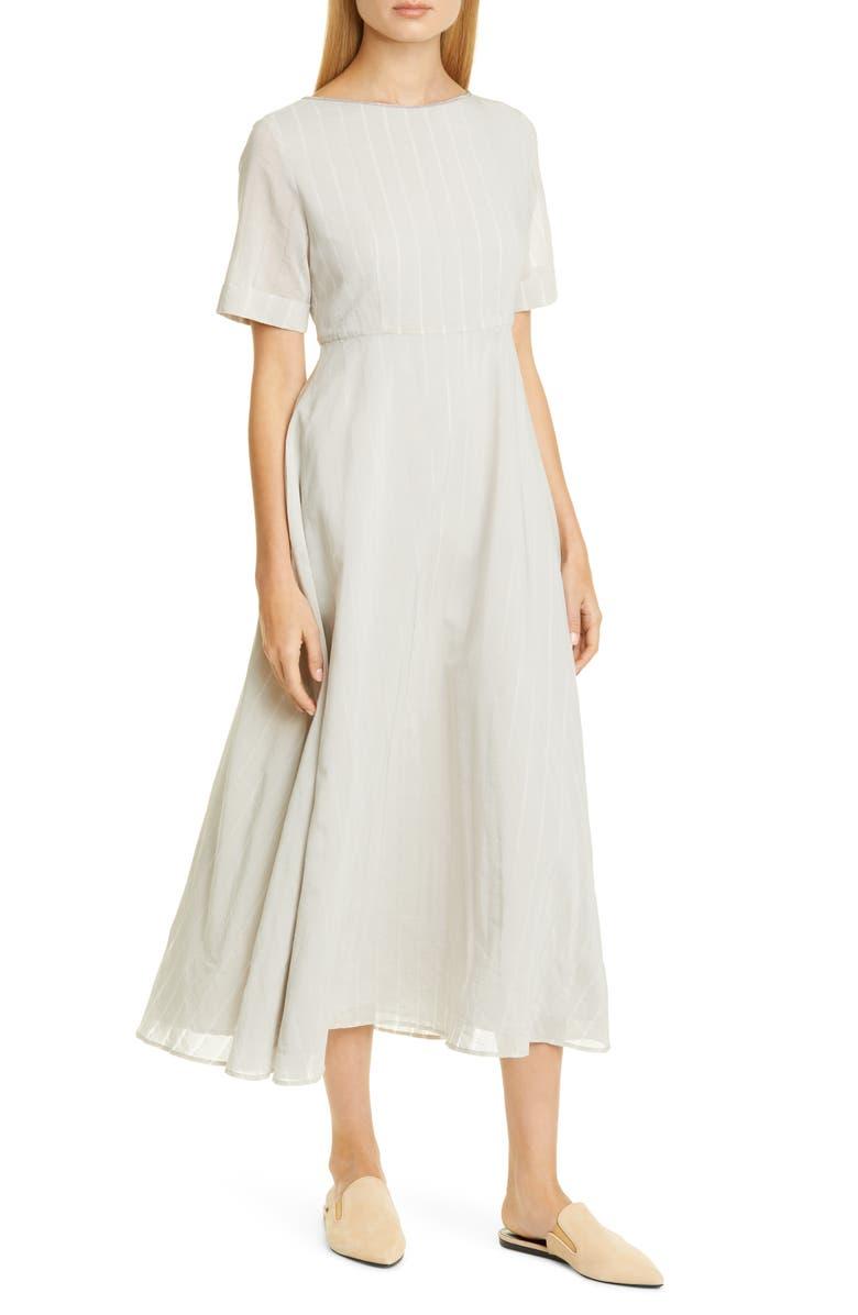 FABIANA FILIPPI Stripe Cotton & Silk Midi Dress, Main, color, LIGHT BEIGE