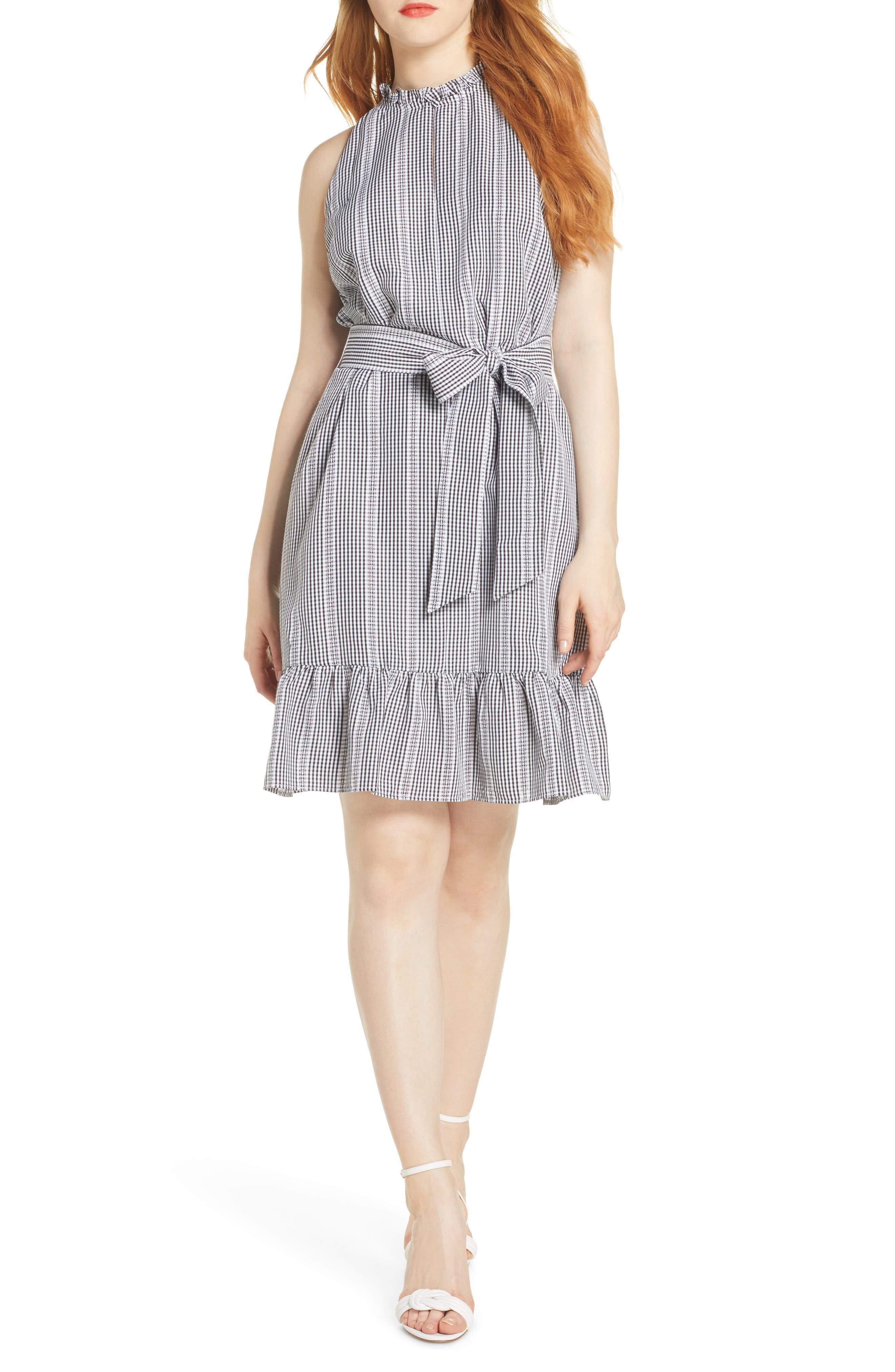 Sam Edelman Ruffle Gingham A-Line Dress, Black