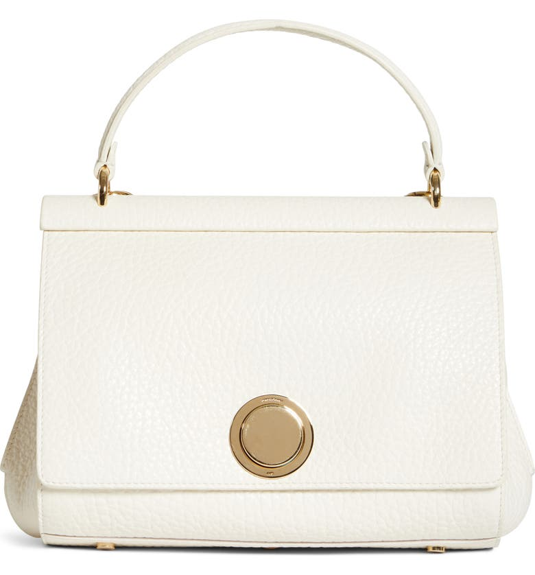 GIAMBATTISTA VALLI Grained Calfskin Leather Top Handle Bag, Main, color, MILK/ GOLD