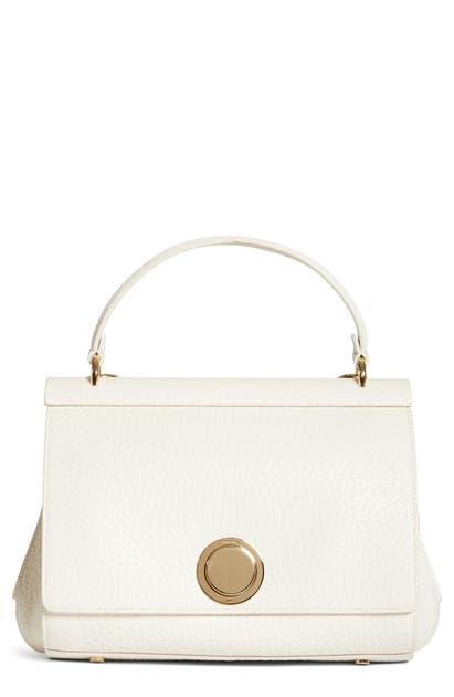 Giambattista Valli Grained Calfskin Leather Top Handle Bag In Milk/ Gold