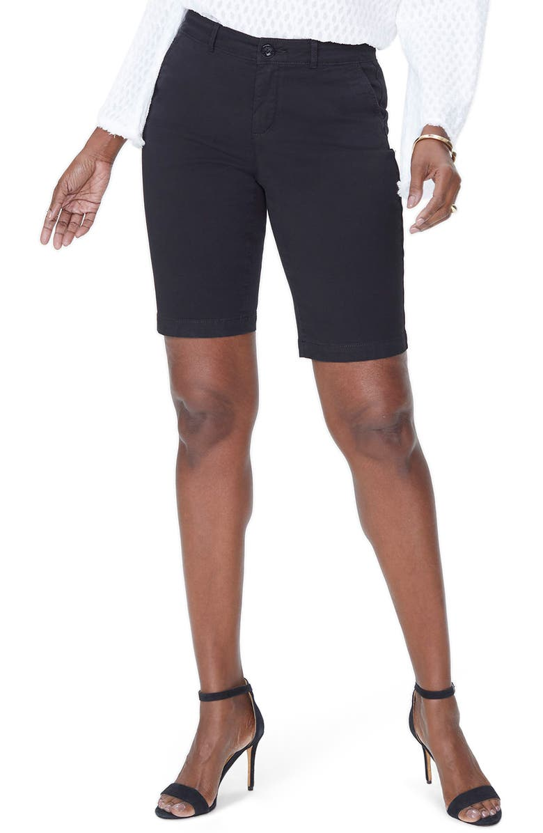 NYDJ Stretch Twill Bermuda Shorts, Main, color, BLACK