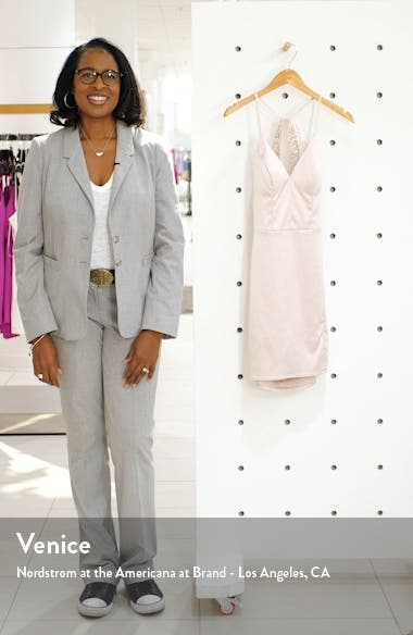Lace Back Stretch Satin Cocktail Dress, sales video thumbnail