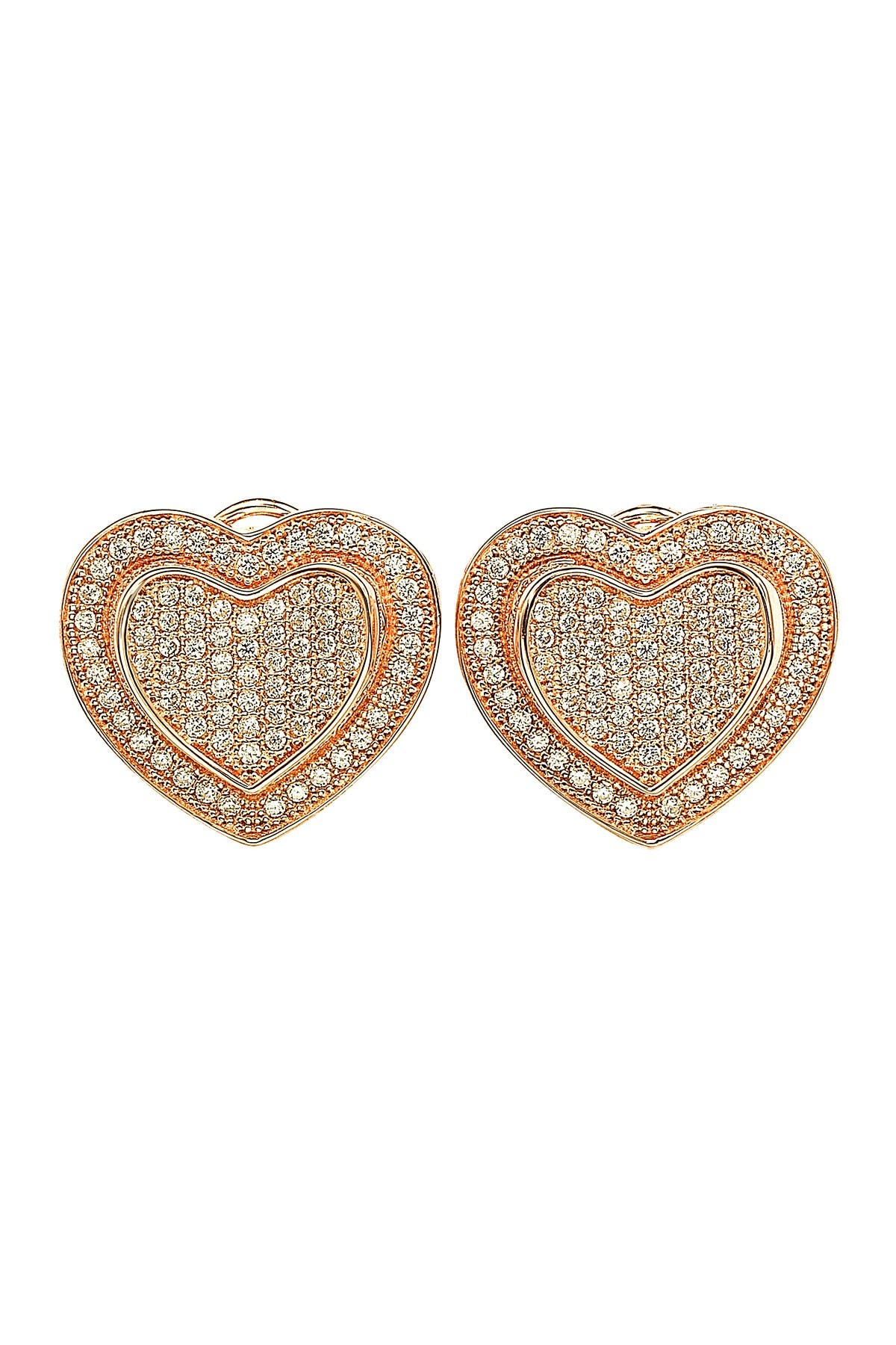 Image of Suzy Levian Rose Gold-Tone Sterling Silver Pave CZ 'Loving Heart' Stud Earrings