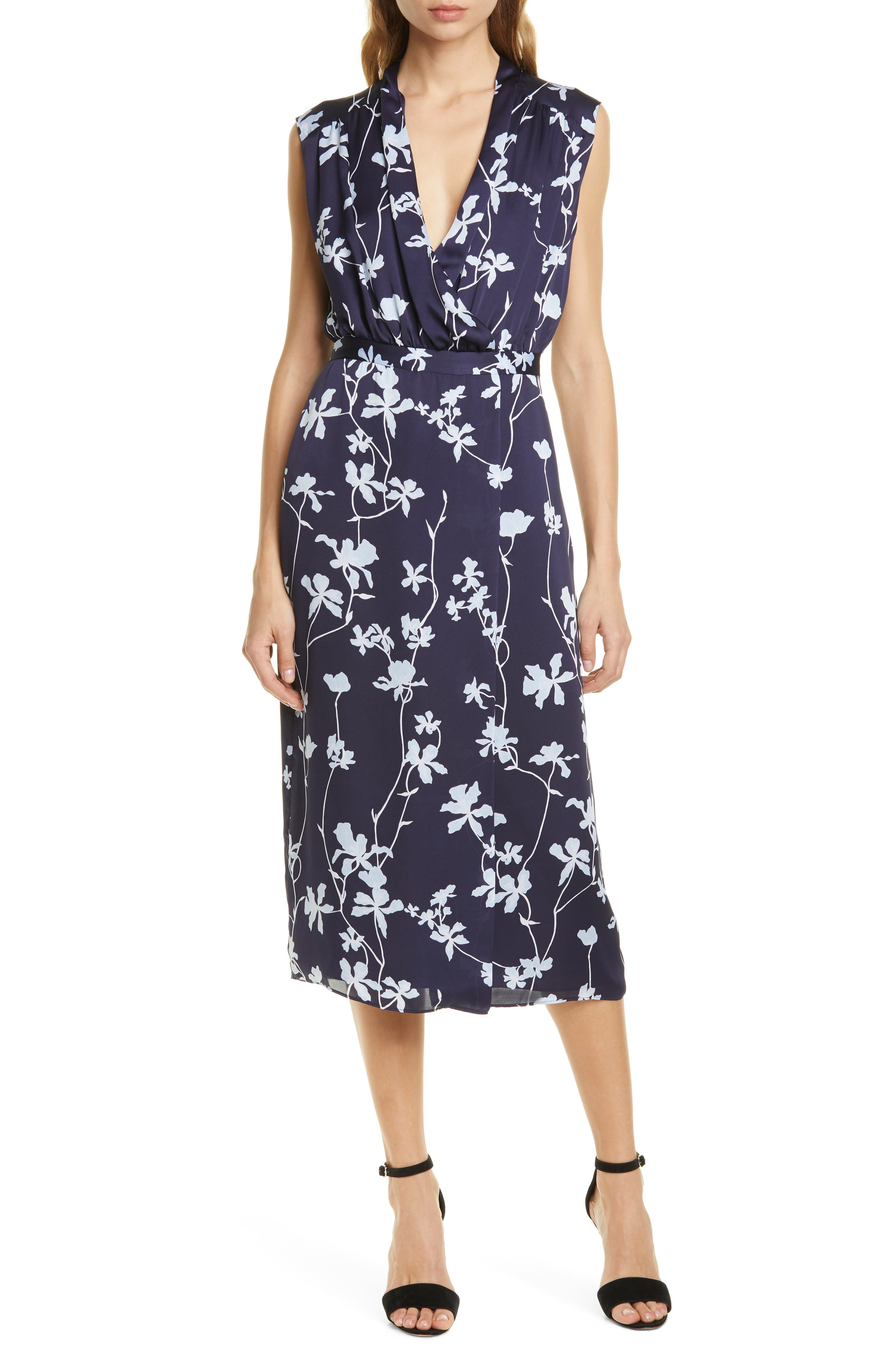 Equipment Femma Floral Wrap Dress, Blue